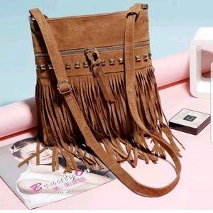 Handbags - Vegan Leather Beaded Fringe Crossbody Bag